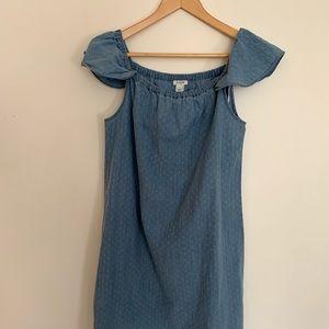 JCrew chambray dress, size 6 ruffle sleeve